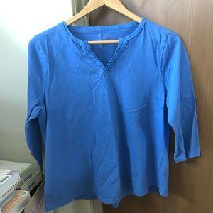 Talbots royal blue v neck 3/4 long sleeve t